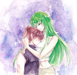 1boy 1girl brown_hair c.c. code_geass couple daijond eyes_closed green_hair hug kururugi_suzaku long_hair