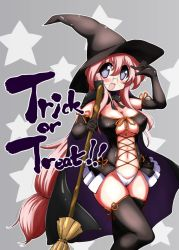 1girl absurdres alternate_costume black_gloves black_legwear blush breasts broom elbow_gloves glasses gloves grey_background halloween hat highres long_hair lucky_star mizushima_(p201112) open_mouth pink_hair purple_eyes solo star starry_background takara_miyuki thighhighs trick_or_treat very_long_hair witch_hat