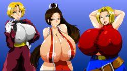 artist_kaiman breasts gigantic_breasts huge_breasts large_breasts shiranui_mai tight