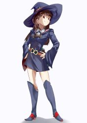 1girl akko_kagari bangs blunt_bangs boots brown_hair contrapposto hands_on_hips hat kagari_atsuko knee_boots little_witch_academia looking_at_viewer red_eyes shirowa smile solo thighs white_background wide_sleeves witch witch_hat
