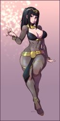 1girl black_eyes black_hair bodysuit bracelet breasts cleavage covered_navel curvy fire_emblem fire_emblem:_kakusei full_body hair_ornament highres jewelry large_breasts long_hair looking_at_viewer mandragoria parted_lips see-through smile solo standing tharja thick_thighs tiara wide_hips
