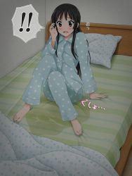akiyama_mio artist_request barefoot bed bedwetting black_hair blush feet indoors k-on! long_hair pajamas peeing peeing_self shocked sitting solo sweat tagme