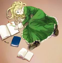 1girl book crayon drawing dress expressionless full_body green_dress ib ib_(ib) iko_(i-my-16) long_hair looking_away lying mary_(ib) notebook open_book pantyhose shoes solo very_long_hair