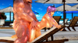 1girl 3d ayane_(doa) beach breasts chair dead_or_alive dead_or_alive_5 fat female flower island mask monster muscle nipples nude orc outdoors outside pig plant pool public_sex purple_hair red_eye red_eyes ribbon sea sex tagme topless umbrella