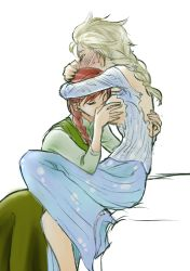 2girls anna_(frozen) blonde_hair blush breast_sucking breasts breasts_outside couple elsa_(frozen) eyes_closed frozen_(disney) hug incest multiple_girls orange_hair siblings sisters taro_(116taro) torn_clothes yuri