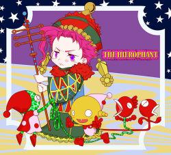 ashita_tta chibi hat hierophant_green jojo_no_kimyou_na_bouken kakyouin_noriaki pink_hair priest purple_eyes purple_hair staff stand_(jojo) tarot