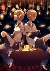 1boy 1girl back-to-back blonde_hair blue_eyes brother_and_sister constellation crossed_arms detached_sleeves eyes_closed hair_ornament hair_ribbon hairclip headphones highres kagamine_len kagamine_rin lamp light lococo:p ribbon siblings sitting star vocaloid