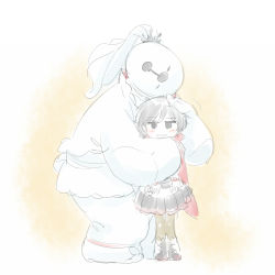1girl baymax big_hero_6 blush cape cosplay female gradient gradient_background hug iesupa pale_color ruby_rose rwby solo weiss_schnee weiss_schnee_(cosplay) white_background