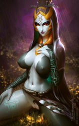 1girl blue_skin breasts erect_nipples grey_skin hood jewelry large_breasts midna midna_(true) monster_girl navel nipples orange_hair parted_lips pussy rain red_eyes shaved_pussy sitting skirt solo spoilers spread_legs squatting tarakanovich tattoo the_legend_of_zelda twili_midna twilight_princess uncensored watermark wet yellow_sclera