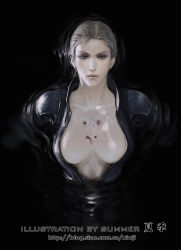blonde_hair blood breasts cleavage floating in_water jill_valentine leather_suit looking_at_viewer medium_breasts resident_evil resident_evil_5 shot unzipped wounded zipper