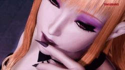1girl 3d animated animated_gif bangs blonde_hair castlevania company_name cr_pachinko_akumajō_dracula demon_girl diamond eye_shadow fingernails jewel make_up nail_polish open_mouth pink_eyes succubus succubus_(castlevania) tongue tongue_out