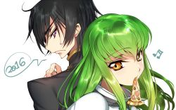 1boy 1girl 2016 back-to-back black_hair c.c. code_geass creayus food green_hair lelouch_lamperouge long_hair mouth_hold musical_note pizza purple_eyes short_hair simple_background white_background yellow_eyes