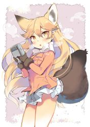 1girl animal_ears black_gloves blonde_hair blush bow cowboy_shot ezo_red_fox_(kemono_friends) fox_ears fox_tail fur_trim game_boy gloves hair_between_eyes handheld_game_console holding jacket kemono_friends kibii_mocha long_hair miniskirt orange_jacket simple_background skirt solo standing tail white_bow white_skirt yellow_eyes