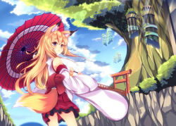 1girl animal_ears blonde_hair blue_eyes bridge detached_sleeves floating_island fox_ears fox_tail highres holding japanese_clothes kimono kimono_skirt long_hair looking_at_viewer looking_back mikususannda oriental_umbrella original pleated_skirt skirt solo tail torii tree umbrella
