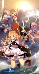 3girls absurdres alice_margatroid apron blonde_hair bloomers blue_eyes blurry blush book bow capelet cloud dress falling frills glasses hair_bow hair_ribbon hairband hat hat_ribbon highres kirisame_marisa long_hair looking_at_viewer lucky_small_pride midair mob_cap motion_blur multiple_girls paper patchouli_knowledge puffy_short_sleeves puffy_sleeves purple_eyes purple_hair red_bow ribbon short_hair short_sleeves skirt skirt_set sky slippers smile socks striped sun touhou underwear witch_hat wrist_cuffs