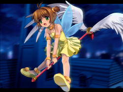 1girl ankle_cuffs antenna_hair brown_hair card_captor_sakura choker dress eyebrows_visible_through_hair feathered_wings flying green_eyes highres holding holding_staff kinomoto_sakura mutsuki_(moonknives) night one_side_up open_mouth outdoors shiny shiny_skin short_hair sleeveless sleeveless_dress solo staff strapless strapless_dress white_wings wings wrist_cuffs yellow_dress