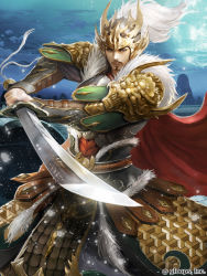 1boy armor blue_eyes blue_sky bridge facial_hair fighting_stance helmet japanese_armor kei1115 looking_at_viewer male_focus moon mustache official_art outdoors red_cape sangokushi_battle shoulder_armor sky solo standing sword vambraces watermark weapon