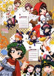 6+girls :d :o ;d absurdres akiyama_yukari anglerfish animal_ears animal_hat armor bird blush_stickers boko_(girls_und_panzer) brown_hair caesar_(girls_und_panzer) calendar chibi cosplay duck erwin_(girls_und_panzer) girls_und_panzer gloves gym_shorts hairband hat highres hippo isobe_noriko isuzu_hana kawanishi_shinobu kondou_taeko laurel_crown little_red_riding_hood little_red_riding_hood_(cosplay) multiple_girls nishizumi_miho one_eye_closed open_mouth oryou_(girls_und_panzer) paw_gloves paws peaked_cap reizei_mako saemonza sasaki_akebi short_hair shorts smile sportswear sugimoto_isao tail takebe_saori volleyball volleyball_uniform witch_hat wolf_ears wolf_paws wolf_tail