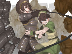 2girls armor avatar:_the_last_airbender belt black_hair blind blue_eyes child chinese_clothes dual_persona fighting_stance grey_eyes gyehu_kim hairband legend_of_korra metal multiple_girls older rock smile time_paradox toph_bei_fong wire