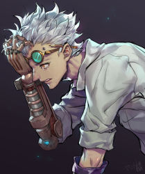 1boy black_background cropped_torso crying crying_with_eyes_open diamond_(symbol) dr._junkenstein eyelashes facial_hair fan_ju fang from_side gem glowing goggles goggles_on_head hair_slicked_back hand_in_hair hand_on_own_head hand_over_eye hand_up highres junkrat_(overwatch) labcoat leaning_forward light_particles looking_at_viewer male_focus mechanical_arm orange_eyes overwatch pencil pencil_behind_ear piercing profile runny_nose signature sleeves_rolled_up solo stubble tears upper_body white_hair