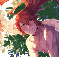 1boy ahoge fire_emblem fire_emblem_if kotobuki210 leaf long_hair male_focus ponytail red_eyes red_hair shirtless solo towel tsubaki_(fire_emblem_if)