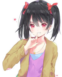 1girl artist_name bangs black_hair blush cardigan eyebrows_visible_through_hair hair_between_eyes hand_up jewelry looking_at_viewer love_live! love_live!_school_idol_project necklace nico_nico_nii open_cardigan open_clothes parted_lips purple_shirt red_eyes shirt signature simple_background smile solo star star_necklace tr_(kangtw123) twintails v-neck white_background yazawa_nico