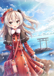 1girl :d akashio_(loli_ace) arm_behind_back bag bangs black_hairband black_ribbon blue_sky blush boko_(girls_und_panzer) buttons cloud commentary_request condensation_trail cowboy_shot day dress dutch_angle eyebrows_visible_through_hair frilled_dress frills fur_trim girls_und_panzer gloves grey_eyes hair_between_eyes hair_ribbon hairband handbag heart highres holding holding_stuffed_animal horizon landscape light_brown_hair light_rays long_hair long_sleeves looking_at_viewer neck_ribbon ocean open_mouth outdoors paw_print pom_pom_(clothes) red_dress red_ribbon ribbon rock shimada_arisu shiny shiny_hair side_ponytail sky smile solo stuffed_animal stuffed_toy sunlight teddy_bear torii tsurime white_gloves