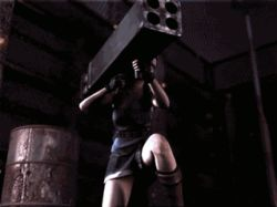 3d animated animated_gif breasts cgi cleavage jill_valentine legs long_boots miniskirt on_ground resident_evil rocket_launcher short_hair sideboob skirt standing_up thighs torn_clothes tubetop weapon