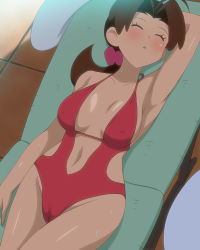 1girl :d ahoge arm_at_side arm_behind_head arm_up armpits bangs blush breasts breasts_apart brown_hair cameltoe casual_one-piece_swimsuit center_opening chair cowboy_shot day dutch_angle erect_nipples eyes_closed flipped_hair from_above groin hair_ornament hair_scrunchie halterneck hanako_(pokemon) hips large_breasts leaning_back legs_together long_hair lounge_chair low_ponytail lying makino_tomoyasu mature navel navel_cutout on_back one-piece_swimsuit open_mouth outdoors parted_lips pokemon pokemon_(anime) ponytail red_swimsuit scrunchie shade side_cutout sideboob sleeping smile solo sweat swimsuit table thighs tile_floor tiles towel wet