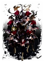 6+girls asmodeus ass beelzebub belphegor black_hair black_legwear blonde_hair boots brown_hair drill_hair eyes_closed garter_straps green_hair hand_on_hip highres leotard leviathan_(umineko) lucifer mammon multiple_girls necktie ponytail red_eyes satan smile sofy stakes_of_purgatory thighhighs twin_drills twintails umineko_no_naku_koro_ni white_hair