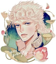 1boy blonde_hair blue_eyes braid face flower giorno_giovanna hair_tie happy_birthday highres jojo_no_kimyou_na_bouken male_focus neck petals plant single_braid solo supocon