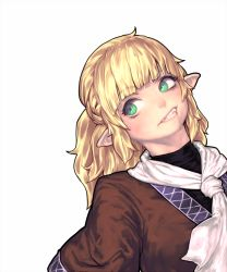 1girl blonde_hair clenched_teeth face fangs gengoroumaru_(ambidextrous) green_eyes looking_up mizuhashi_parsee pointy_ears scarf shirt short_hair short_sleeves simple_background solo touhou turtleneck upper_body vest white_background