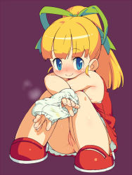 1girl blonde_hair blue_eyes blush capcom cleft_of_venus dress flat_chest hair_ribbon holding holding_panties knees_on_chest knees_together_feet_apart knees_up loli long_hair nipples no_panties om_(artist) panties panties_removed ponytail presenting_panties purple_background pussy ribbon rockman rockman_(classic) roll shoes simple_background sitting smile solo stain stained_panties uncensored underwear upskirt white_panties