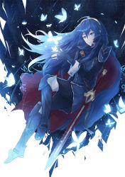 1girl black_gloves black_pants blue_eyes blue_hair butterfly fingerless_gloves fire_emblem fire_emblem:_kakusei floating_hair full_body gloves hair_between_eyes kachiino long_hair lucina pants sheath sheathed smile solo sword very_long_hair weapon