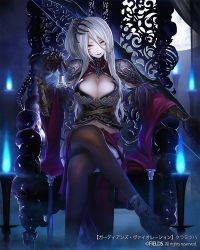 1girl armor armored_dress black_gloves black_legwear bone bone_hair_ornament bow_(weapon) breasts cleavage_cutout elbow_gloves garter_straps gauntlets gloves hair_ornament large_breasts legs_crossed long_hair looking_at_viewer official_art one_side_up original silver_hair skull solo suzki00 thighhighs throne torch weapon yellow_eyes