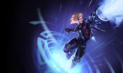 1boy arm_cannon blonde_hair boots clenched_hand cybernetic_eye cyborg ezreal league_of_legends official_art pulsefire_ezreal solo vest weapon