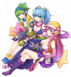 3girls alternate_costume alternate_hair_color blitzcrank blue_eyes boots breasts bubble_blowing character_doll chewing_gum cleavage game_boy green_hair gun hair_ornament hair_over_one_eye handheld_game_console hat headphones hecarim high_heels highres horn jewelry knee_pads konomoto_(knmtzzz) league_of_legends legs_crossed long_hair looking_at_viewer multiple_girls necklace open_mouth ponytail purple_eyes riven_(league_of_legends) sarah_fortune sitting sona_buvelle staff star star_hair_ornament star_pillow twintails veigar weapon