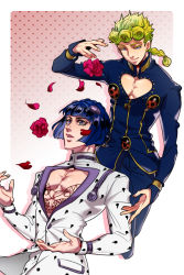 2boys anz bare_chest blonde_hair blue_eyes blue_hair bob_cut braid bruno_buccellati dropping flower giorno_giovanna gradient gradient_background hair_ornament hairclip highres jojo_no_kimyou_na_bouken male_focus multiple_boys petals polka_dot polka_dot_background rose single_braid zipper