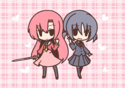 2girls black_hair chibi fushigi_ebi hayate_no_gotoku! katsura_hinagiku long_hair multiple_girls nishizawa_ayumu pink_hair school_uniform short_hair sword twintails weapon