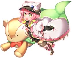 1boy :3 ahoge animal_hat anpolly blush cat_hat ensemble_stars! green_eyes hat himemiya_touri jewelry male_focus necklace open_mouth pink_hair short_hair sidelocks smile solo stuffed_animal stuffed_toy teddy_bear