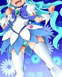 1girl blue_hair blue_skirt cure_marine dr_rex heartcatch_precure! kurumi_erika long_hair magical_girl panties precure skirt solo striped striped_panties thighhighs underwear