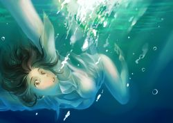 1girl breasts brown_eyes brown_hair bubbles deathwingxiii gradient_background sea solo underwater wet