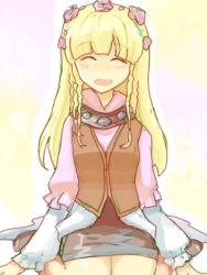 1girl blonde_hair blush braid coat eyes_closed flower long_hair open_mouth rose shirley_fennes shoes skirt tales_of_(series) tales_of_legendia
