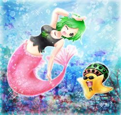 1girl air_bubble breasts brown_eyes camie cleavage coral fish green_hair hand_on_own_head hat jewelry looking_at_viewer mermaid monster_girl necklace one_eye_closed one_piece open_mouth pappug shirt short_hair sleeveless sleeveless_shirt sparkle star sunglasses tank_top tsukiori_sasa underwater wrist_cuffs