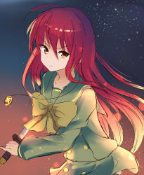1girl color1087 highres jewelry long_hair pendant red_eyes red_hair school_uniform serafuku shakugan_no_shana shana sword weapon