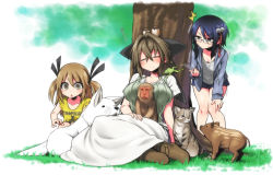/\/\/\ 3girls bird blue_eyes blue_hair blush boots bow brown_eyes brown_hair capybara cat chankodining_waka dog dress eyes_closed frog glasses hair_bow hair_ornament highres long_hair monkey multiple_girls open_mouth original short_hair shorts sitting sleeping sweat tree twintails two_side_up