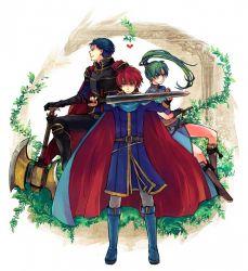 1girl 2boys blue_eyes blue_hair eliwood fire_emblem fire_emblem:_rekka_no_ken green_eyes green_hair hector long_hair lyndis_(fire_emblem) multiple_boys nintendo ponytail red_hair sword