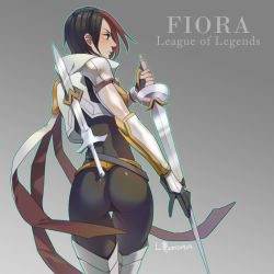 1girl armored_boots ass belt black_hair boots character_name copyright_name fiora_laurent from_behind gloves l102016695 league_of_legends pants profile short_hair solo sword thigh_boots thighhighs weapon white_boots white_legwear