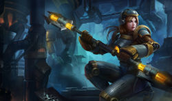 1girl blonde_hair furnace gloves helmet league_of_legends long_hair luxanna_crownguard official_art pipes power_armor sitting solo staff steampunk steel_legion_lux