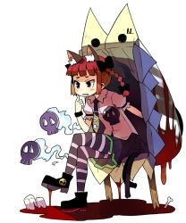 1girl animal_ears bangs blood blunt_bangs bone bow braid cat_ears cat_tail collared_shirt hair_bow head_rest hitodama kaenbyou_rin kannazuki_hato multiple_tails necktie pantyhose pool_of_blood red_eyes red_hair shoes simple_background sitting skull solo striped striped_legwear tail touhou two_tails white_background wristband